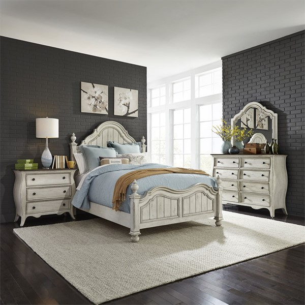 Liberty Parisian Marketplace Two Tone Brownstone 2pc Queen Poster Bedroom Set With Bombay Night Stand LBRT-698-QPS-BR-S1