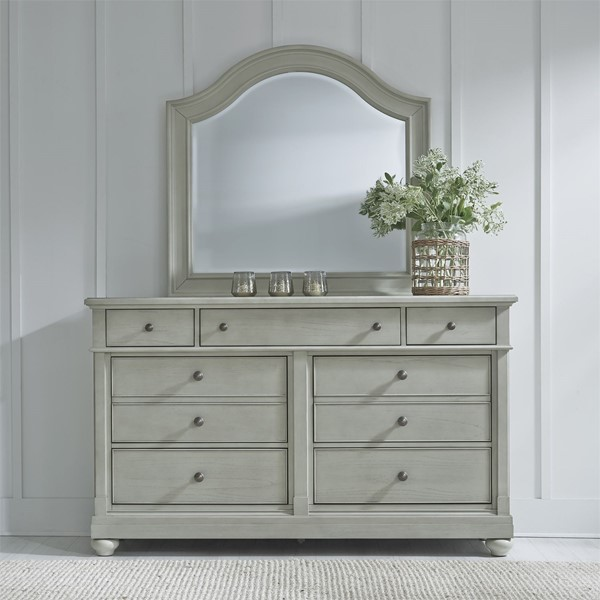 Liberty Harbor View III Dove Drawer Dresser and Mirror LBRT-731-BR-DM