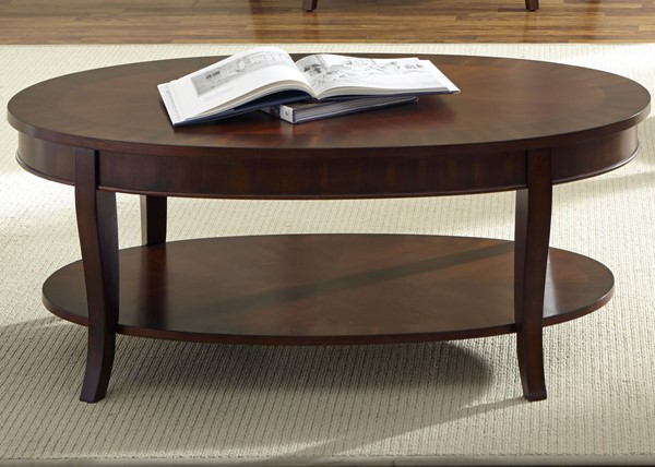 Liberty Bradshaw Cherry Oval Cocktail Table LBRT-748-OT1011
