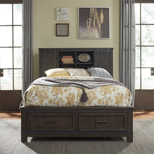 Liberty Thornwood Hills Beaten Gray Bookcase Bed LBRT-759-QK-BED-VAR