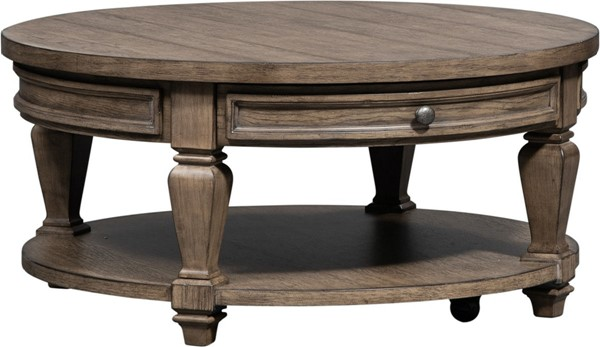 Liberty Harvest Home Barley Brown Round Cocktail Table LBRT-779-OT1011