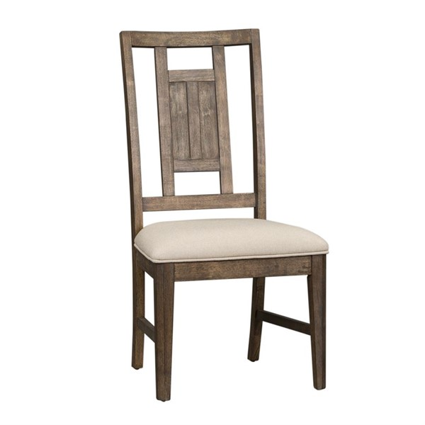 2 Liberty Artisan Prairie Aged Oak Gray Cream Lattice Back Side Chairs LBRT-823-C9201S