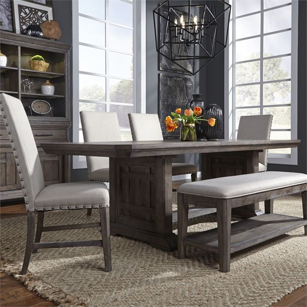 Liberty Artisan Prairie Aged Oak Gray 6pc Trestle Dining Room Set LBRT-823-DR-6TRS