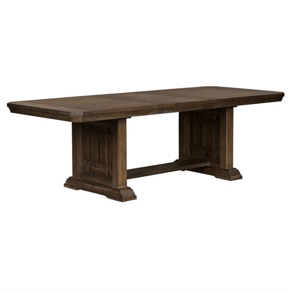 Liberty Artisan Prairie Aged Oak Gray Trestle Table LBRT-823-4096-DT