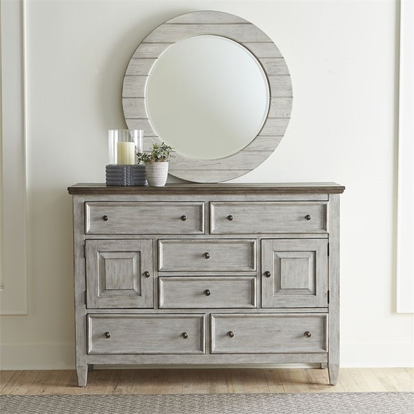 Liberty Heartland White Tobacco Round Dresser And Mirror LBRT-824-BR-ODM