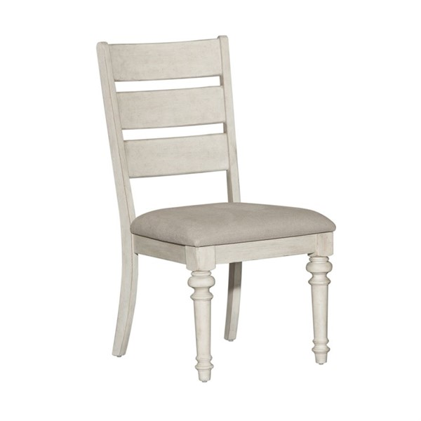 2 Liberty Heartland Antique White Tobacco Ladder Back Side Chairs LBRT-824-C2001S