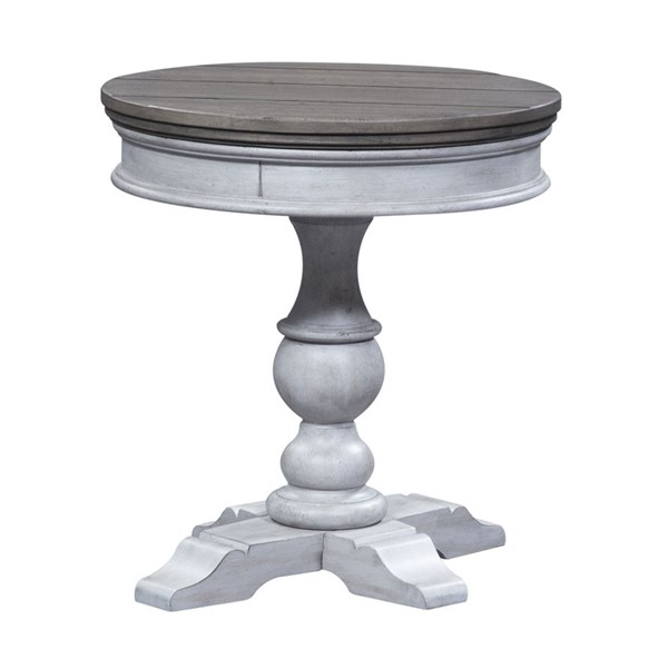 Liberty Heartland Antique White Tobacco Round Pedestal Chair Side Table LBRT-824-OT1022