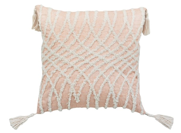 Lea Unlimited Beige Corded Embroidered Optical Illusion Decorative Pillow LEA-82900