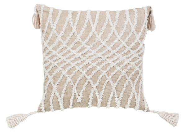 Lea Unlimited Taupe Corded Embroidered Optical Illusion Decorative Pillow LEA-82920