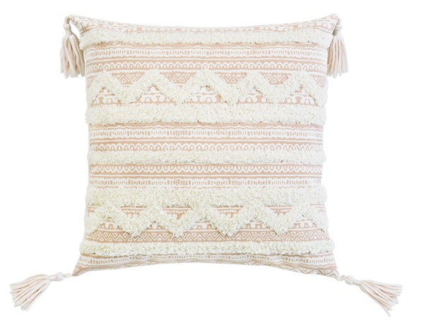 Lea Unlimited Beige Corded Embroidered Decorative Throw Pillow LEA-82960