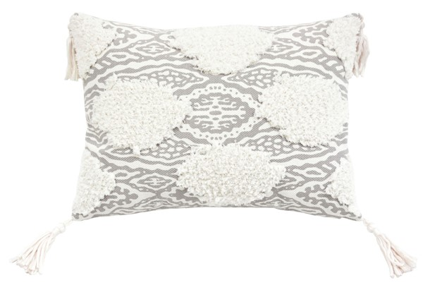 Lea Unlimited Grey Maya Medallion Corded Embroidered Decorative Pillow LEA-83230
