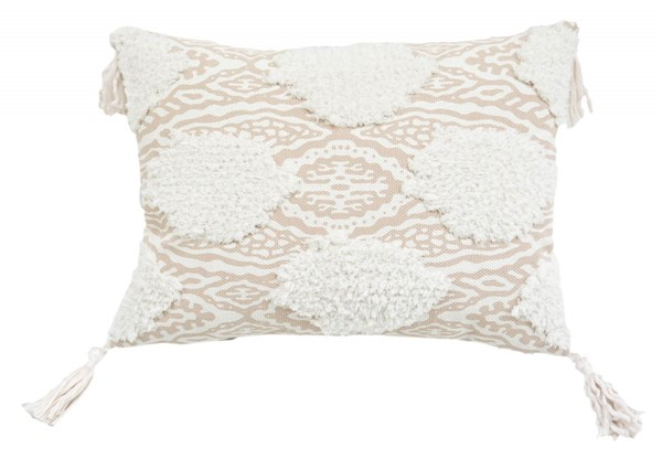 Lea Unlimited Beige Maya Medallion Corded Embroidered Decorative Pillow LEA-83240