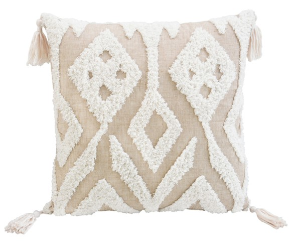 Lea Unlimited Beige Fabric Corded Morocco Embroidered Throw Pillow LEA-83300