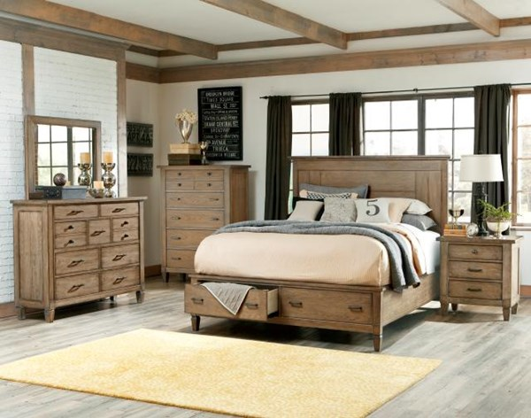 Brownstone Village Casual 5pc Bedroom Sets w/Queen Panel Bed w/Storage LGC-2760-4105SK-QB-S4