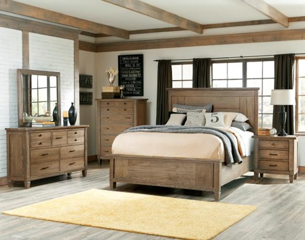 Brownstone Village Casual Oak 2pc Bedroom Sets W/Panel Bed LGC-2760-VER-2