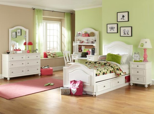 Madison White Wood 2pc Bedroom Set W/Full Panel Drawer Storage Bed LGC-2830-4204-FPLDS-S