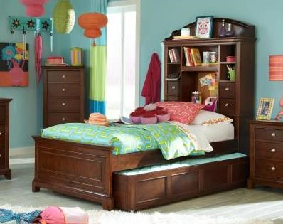Impressions Youth Clear Cherry Wood Full Panel Bookcase Bed LGC-2880-4814K-FBCBTS