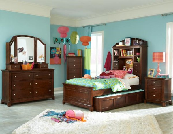Impressions Cherry 4pc Kids Bedroom Set W/Twin Bookcase Trundle Bed LGC-2880-4813K-TBCBTS-S