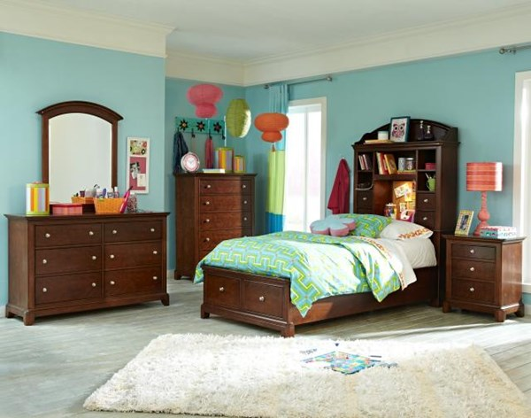 Impressions Cherry 2pc Kids Bedroom Set W/Full Bookcase Storage Bed LGC-2880-4804K-FBCSB-S
