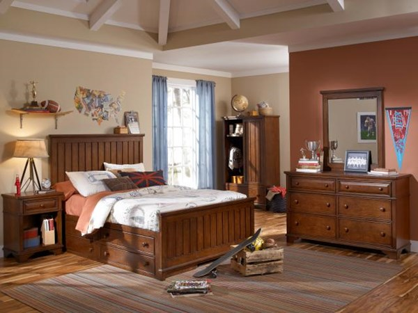 Dawsons Ridge Country Wood 4pc Kids Bedroom Set W/Twin Panel Bed LGC-2960-4103K-PDSTB-S