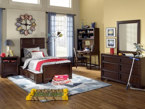Benchmark Transitional Cherry 4pc Kids Bedroom Set w/Full Panel Bed LGC-2970-4104SK-PFDSB-S