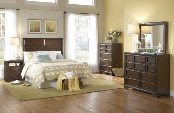 Benchmark Transitional Cherry 5pc Bedroom Set W/Queen Panel Bed LGC-2970-4105K-QB-S