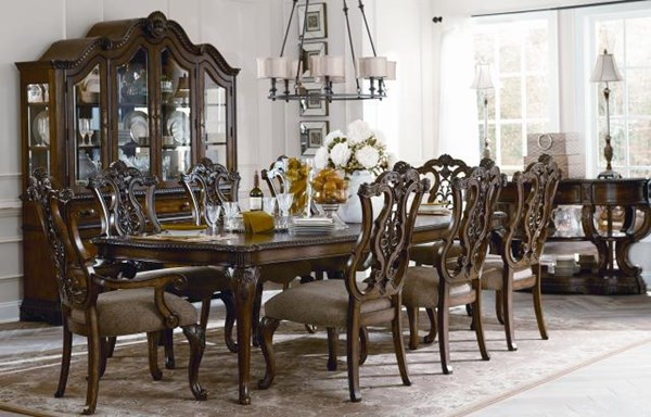 Pemberleigh Traditional Walnut Brandy Wood Dining Room Sets LGC-3100-222-VER