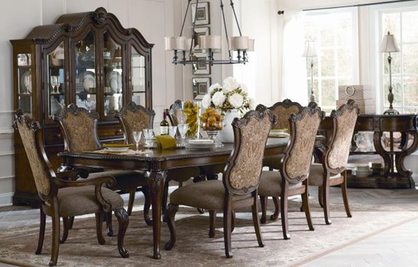 Pemberleigh Traditional Walnut Wood 9pc Dining Room Set LGC-3100-222-340-SET2