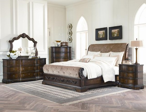 Pemberleigh Traditional Walnut Brandy Wood 2pc Bedroom Sets LGC-3100-4305-6-7-S-VAR