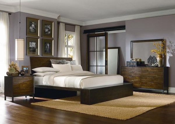 Kateri Contemporary Hazelnut Wood 2pc Bedroom Set W/King Platform Bed LGC-3600-4766K-PTKB-S1