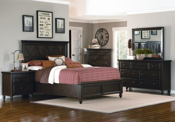 Thatcher Casual Oak 5pc Bedroom Set w/Cal King Panel Bed 6/0 LGC-3700-4107K-CKB-S1