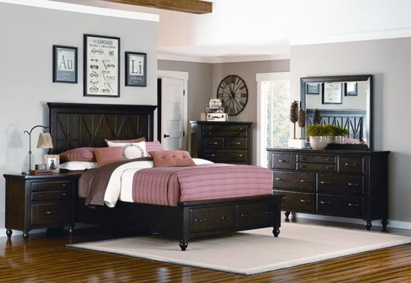 Thatcher Casual 5pc Panel Bedroom Set w/King Storage Footboard LGC-3700-4106SK-SFKB-S3
