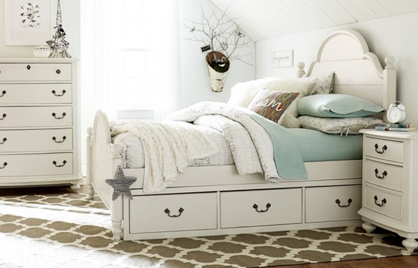 Inspirations By Wendy Bellissimo Twin Low Poster Bed w/Storage Drawer LGC-3830-4203K-SD