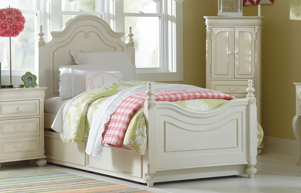 Charlotte White Popler Solid Wood Low Poster Beds W/Trundle LGC-3850-4203K-4204K-BEDS