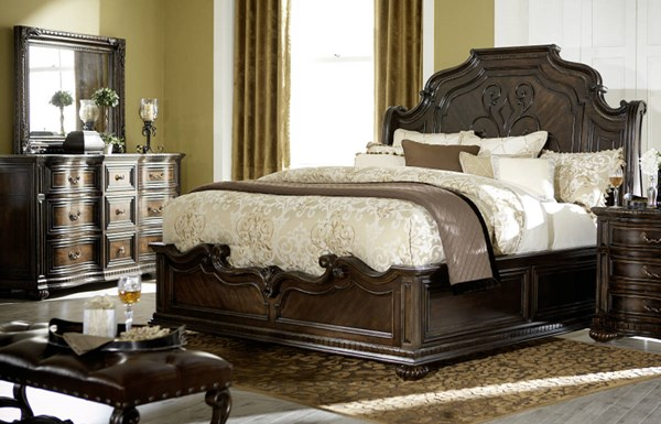 La Bella Vita Brown Wood 5pc Bedroom Set W/Queen Panel Bed LGC-4200-BR-S1