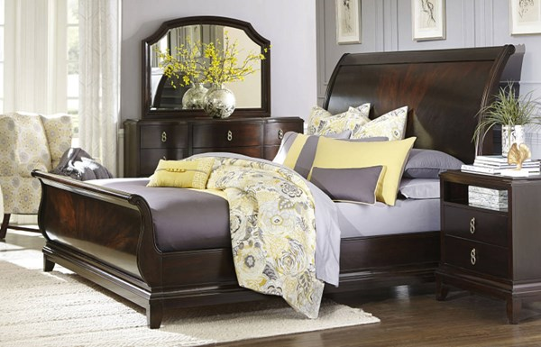 Sophia Transitional Cabernet Wood 5pc Bedroom Set w/King Sleigh Bed LGC-4450-BR-S2