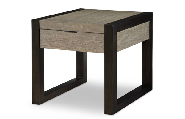 Helix Contemporary Charcoal Wood Rectangular End Table LGC-4660-505