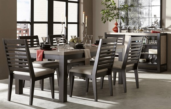 Helix Contemporary Charcoal Wood 7pc Dining Room Set LGC-4660-DR-S2