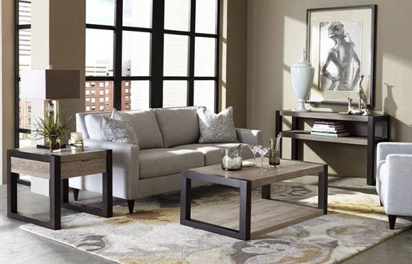 Helix Contemporary Charcoal Wood 3pc Coffee Table Set LGC-4660-OCT-S1