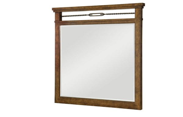 River Run Transitional Bourbon Wood Turnbuckle Mirror LGC-4740-0200