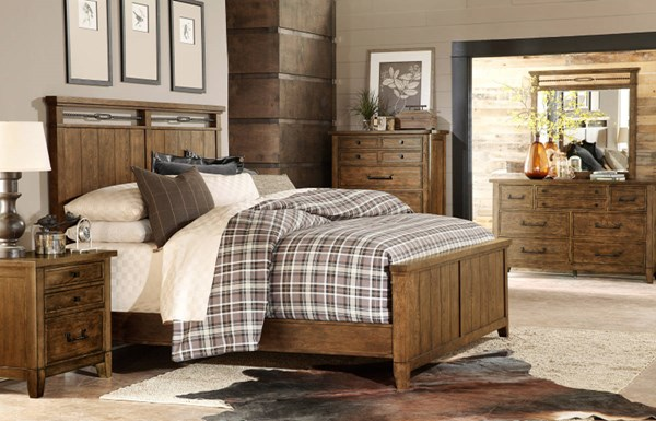 River Run Transitional Bourbon Wood 5pc Bedroom Set w/King Panel Bed LGC-4740-BR-S2