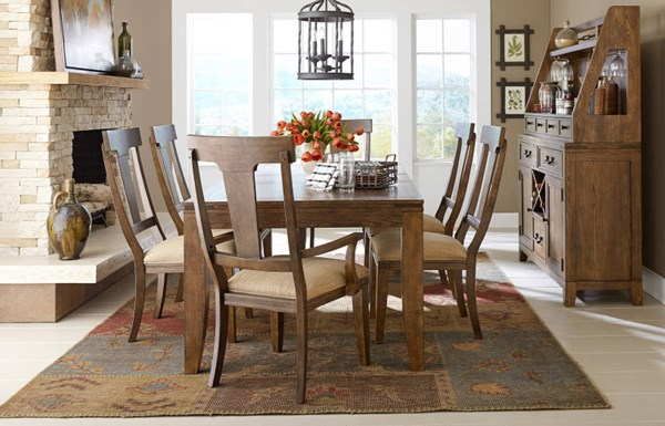 River Run Transitional Bourbon Wood 5pc Dining Room Set LGC-4740-DR-S1