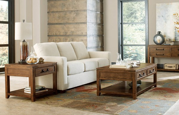 River Run Transitional Bourbon Wood 3pc Coffee Table Set LGC-4740-OCT-S1
