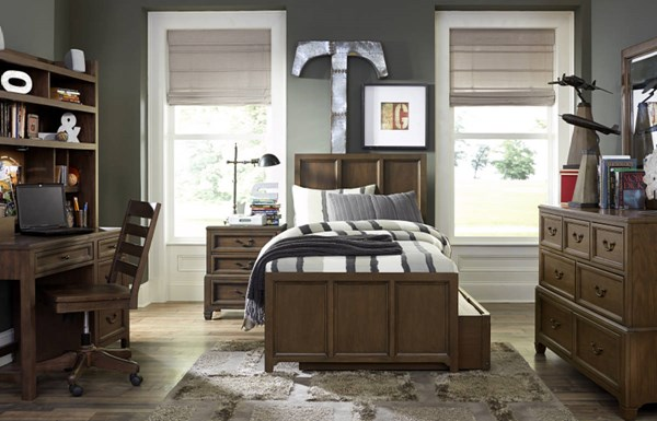 Kenwood White Oak Wood 4pc Bedroom Set w/Twin Trundle Drawer Panel Bed LGC-4800-BR-S3