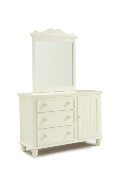 Summer Breeze Cottage Off White Wood Dresser And Mirror LGC-481-1000-0100-DR-MR