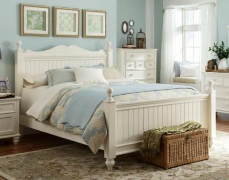 Summer Breeze Cottage Off White Queen Low Poster Bed 5/0 LGC-481-4205K-LPOQB