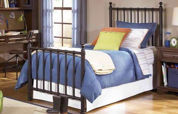 American Spirit Casual Brown Cherry Twin Off Black Metal Bed LGC-490-5003
