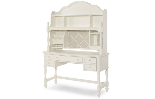 Harmony By Wendy Bellissimo Antique Linen White Wood Desk w/Hutch LGC-4910-6100-6200