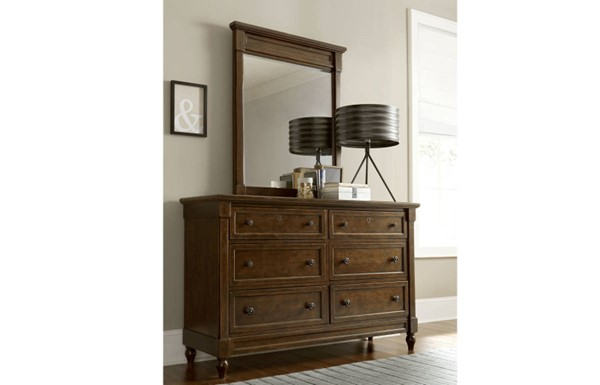 Big Sur By Wendy Bellissimo Saddle Brown Wood Dresser & Mirror LGC-4920-DRMR