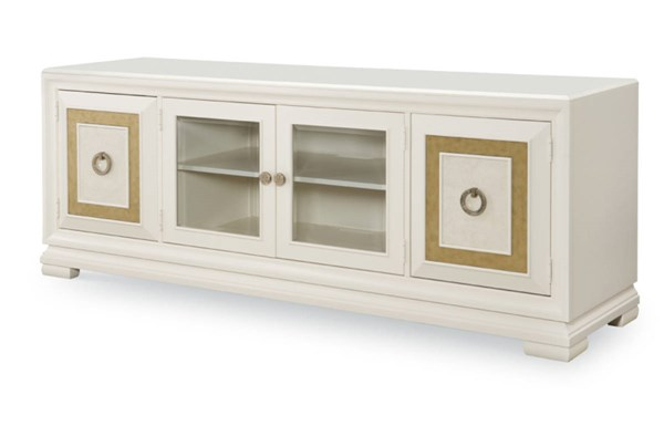 Tower Suite Contemporary Marbleized Pearl Wood Entertainment Console LGC-5010-023